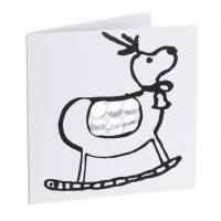 Silver mirror card reindeer